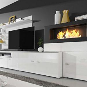 Moderne Wohnwand, TV-Lowboard, Esszimmer mit Kamin Bioethanol, Schrankwand,  Wohnzimmer, Kamineinsatz, Verarbeitung weiß Mate und weiß lackiert, ...